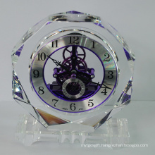 Octagonal Crystal Handicrafts Quartz Clock in Silver