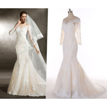 Fit and Flow Ivory and Champagne Wedding Dress