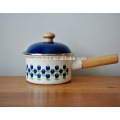 cast iron with enamel powder saucepan pot with wooden single handle