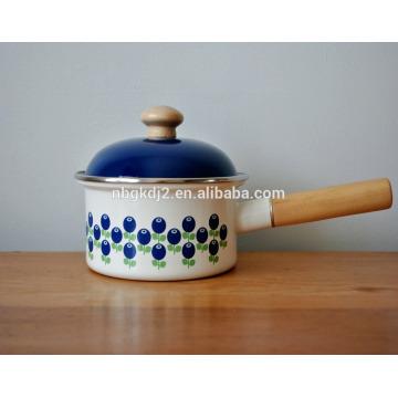 ferro fundido com pote de panela de esmalte em pó com cabo único de madeira