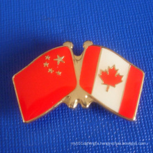 Enamel Flag Badge, Chainese and Canadian Flag (GZHY-LP-019)