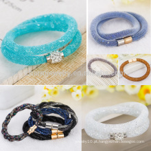 Hot Double Wrap Crystal Stardust Pulseira com Fecho Magnet Pulseira de moda da jóia das senhoras BCR035