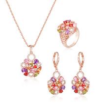 Conjunto de jóias de pedra multicolor na moda para mulheres