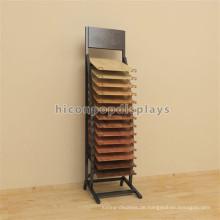 Metal Showroom Werbung Display Stand, Einzelhandel Floor Hook Holz Bodenbelag Display Stand Free Standing