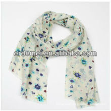 Long woven lady print felt wool scarf