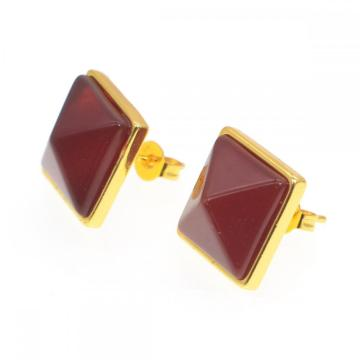 Carnelian Craved Pyramid Stone Stud Earrings