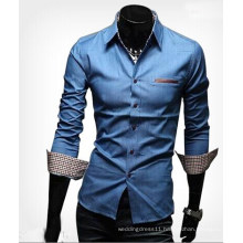 Fashion Men Collar Jeans T-Shirts (WU8201)