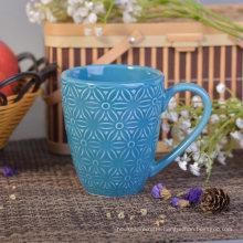 287ml Blue Glazed Ceramic Drinking Mug with Flower Design