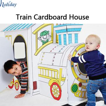 Fábrica corrugada al por mayor Niños plegable tren cartón Playhouse