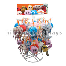 Simple Custom Logo Countertop 2-Tier Metal Wire Keychain Hanging Plush Toy Puppet Display Stand