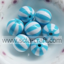 Turquoise 16MM 500Pcs Solid Striped Round Watermelon Resin  Jewelry Latest Designs Gemstone Necklace Bead