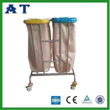 stainless steel hospital waste trolley bins