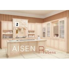 Entrega rápida de 15-25 días gabinete de cocina de la membrana del pvc del estilo de madera maciza de la alta calidad con la columna