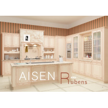 15-25 days fast delivery high quality solid wood style pvc membrane kitchen cabinet with column