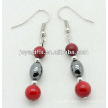6MM Red coral with hematite rice beads earring