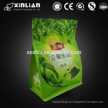 Bolsa de té verde forrada de hojas / bolsa de comida ziplock con refuerzo inferior