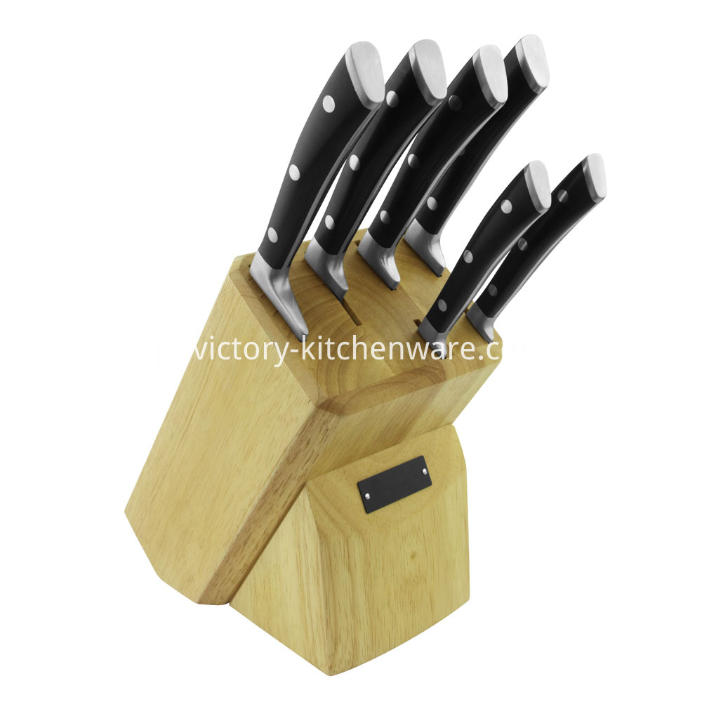 Kitchen knife with wooden block
