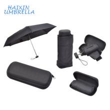 Pequeños objetos de regalo de logotipo de promoción de boda 19 pulgadas de viaje portátil Aleación de aluminio de 5 pliegues Mini paraguas de bolsillo en caso de plástico