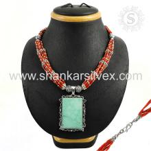 Collier de bijoux en or turquoise magnifique 925 bijoux en argent bijoux