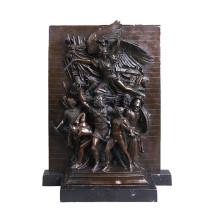 Relieve de latón Estatua Guerrero Relievo Deco Bronce Escultura Tpy-030