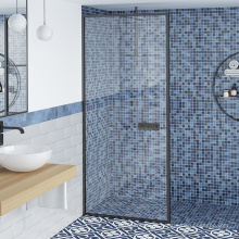 Seawin Hotel Partition Tempered Black Framed Shower Doors With Safety Glass