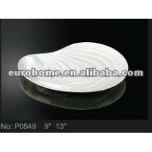 Platos de porcelana blanca con concha - eurohome P0549