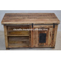 industrial tv cabinet mango wooden cast iron attachment