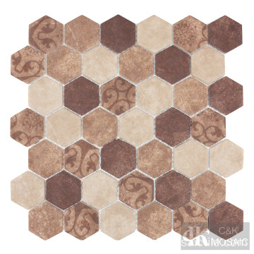 Mosaik Corak Abstrak Hexagon Baroque Beige