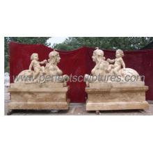 Escultura de mármore da estátua da pedra do jardim com pedra cinzelada (SY-X1118)