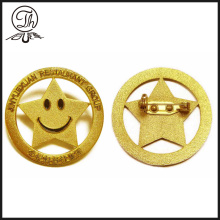 Smile face gold color lapel pin