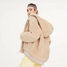 2021 Personalización Invierno Mujer Cremallera Sherpa Sudadera con capucha