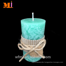 High Admiration Vanilla flavor COUNTRY STYLE Green Pillar Candle In Stock