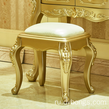 Wholesale luxury golden color mirror furniture lacquer dresser table for bedroom