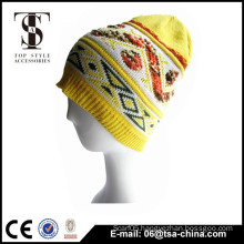 Lastest design winter warm unisex customer jacquard cable-knit hat knitted beanie