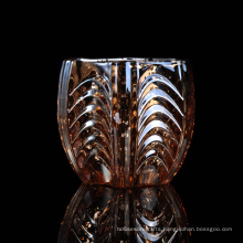 Mercury Glass Candle Holder with Embossed Pattern