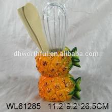 2016 porta-utensilios de cerámica de piña