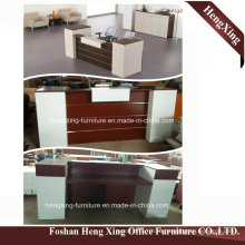 (HX-RT14005) Mahogany Color  Reception Counter Table Wooden Melamine Office Furniture