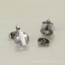 Изготовленный на заказ оптовый лот стильный крест 925 серебро горный хрусталь серьги ювелирные изделия