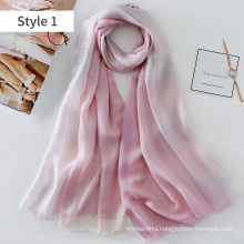 2017 new model new printing technology dip dye gold line printed silk and modal scarf