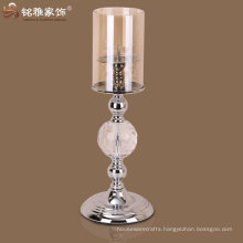 home interior decoration traditional simple design hot selling glass metal candle holder