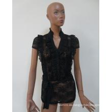 2015 alta calidad negro joven señora vestir cordón blusa para las mujeres