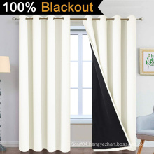 Cream 100% Blackout Curtains for Bedroom