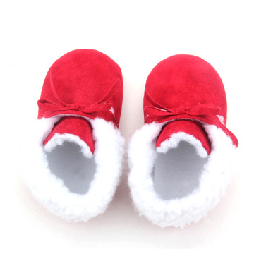 Rote Bowknot-Baby-Schneestiefel