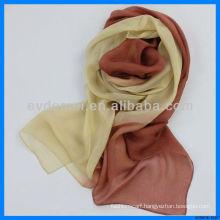 Women gradient color chiffon silk scarf