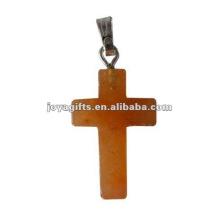 Fashion Red Aventurine Jesus croix pendentif