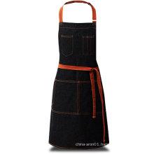 black denim barista apron