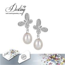 Destin bijoux cristaux de Swarovski boucles d'oreilles papillon perles Boucles d'oreilles