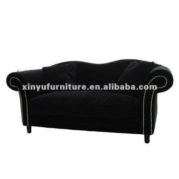 Sala de estar sofá francés terciopelo negro XDS1200