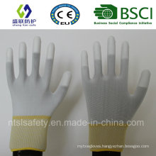 13G White Polyester Nliner with White PU Finger Tip Coating Work Glove (SL-PU205)