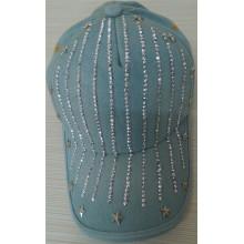 2014 fashion denim baseball cap with rhinestone diamond star adjustable cap women men hot sale good quality